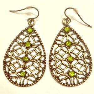 Jewelry - NWOT Bronze and Green Rhinestone Earrings